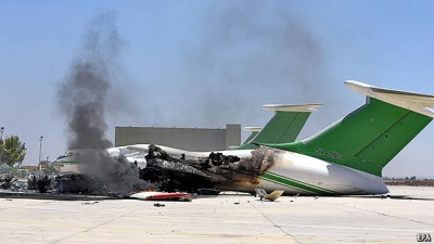 Damage to aircraft at Tripoli's airport caused by fighting in July.