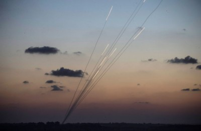 Rockets are fired from inside the Gaza Strip towards Israel on the sixth day of Israel's operation 'Protective Edge' as seen from Sderot, Israel Picture: Andrew Burton/Getty Images
