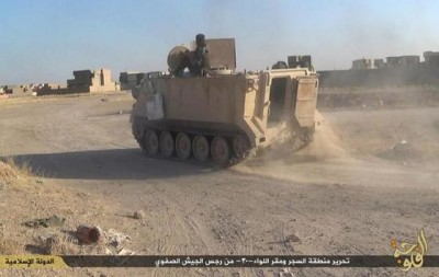 An Islamic State fighter drives an M113 (photo from the Long War Journal)