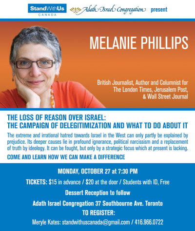 Melanie Phillips October 27 Toronto