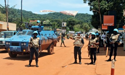 UN peacekeepers in the centre of the Central African Republic's capital Bangui as fresh sectarian vi