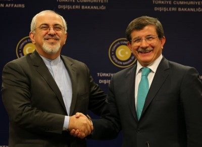 Then Foreign Minister Davutoğlu (R) meets with Iranian Foreign Minister Javad Zarif, November 2013