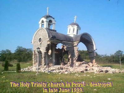 Serbian church destroyed by Kosovars, 1999