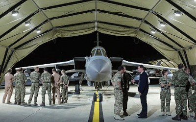 David Cameron meets pilots, engineers and logistic support staff in front of a Tornado GR4 at RAF Akrotiri base (AFP/Getty)