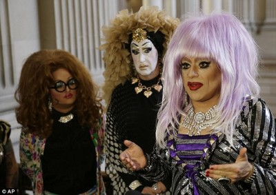 Drag queens (from left) Lil Ms Hot Mess, Sister Roma and Heklina