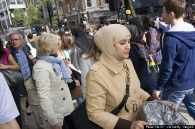 Muslim women shopping in central London, where Islamonausea has shot up in the past 12 months
