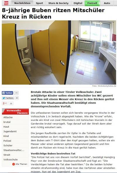 Austria: Muslims carve cross into boys back