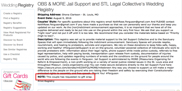 Wedding Gift No Registry: No Gift Wrap, Please: Ferguson Demonstrators Set Up Amazon