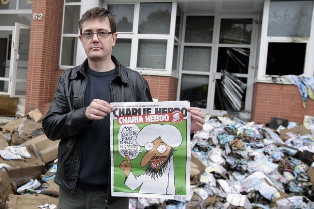 Charb after Charlie Hebdo Firebombed by Muslims