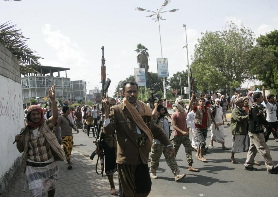 Supporters of separatist Southern Movement demonstrate to demand the separation of the south Yemen, in the country's southern port city of Aden