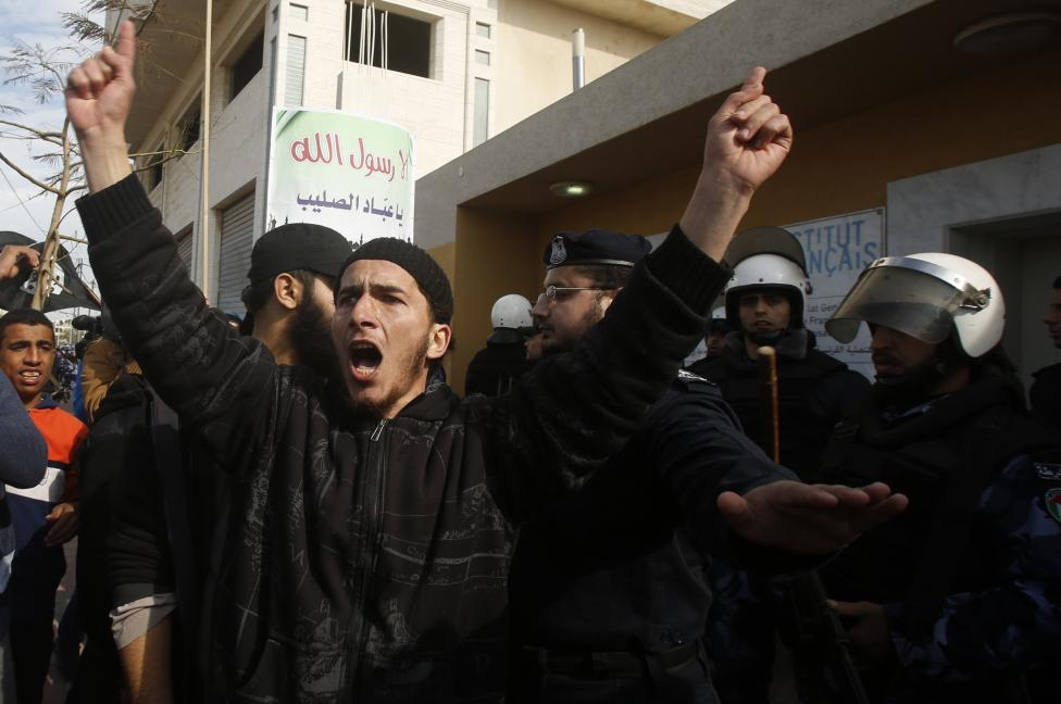 Palestinian Salafist shouts during a protest against satirical French weekly magazine Charlie Hebdo's cartoons of the Prophet Mohammad, outside the French Cultural Centre in Gaza
