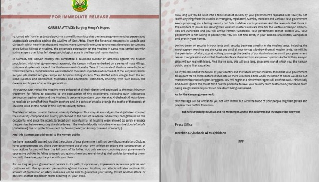 al shabaab releases statement on Garissa attack