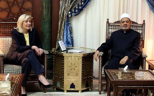 Grand Imam of al-Azhar Sheikh Ahmed el-Tayeb met with Marine Le Pen in Cairo