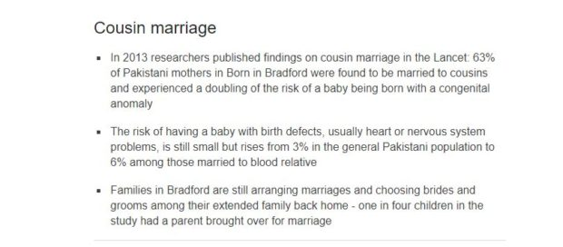 63% of Pakistani mothers in Born in Bradford were found to