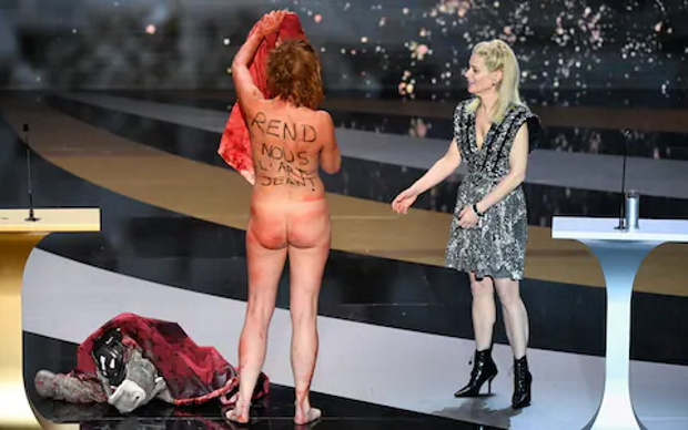 Actress Corinne Masiero protests naked at Frances